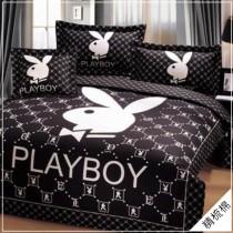 100%美國棉PALYBOY限量款-鋪棉兩用被床包四件組《時尚黑白》