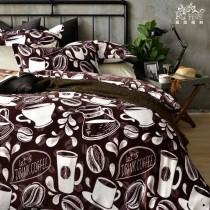 冬季聖品·保暖舒適·法蘭絨鋪棉兩用被四件式《戀戀星巴克》